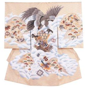 お宮参り男の子2107 ベージュ /鷹と波