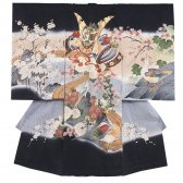 お宮参り男児2071 黒地/兜と寿鶴