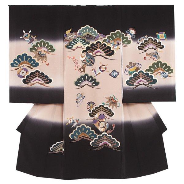 お宮参り男児2053 黒地/手描き 松と小槌