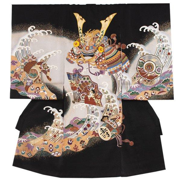 お宮参り男児2043 黒地/豪華刺繍兜