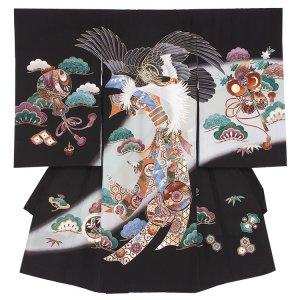 【正絹】お宮参り男の子2106 黒 /鷹と熨斗目