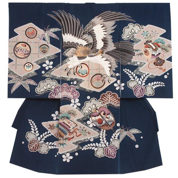 お宮参り男児2037 紺地/鷹の古典柄