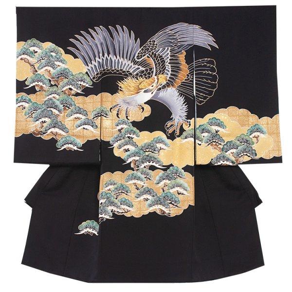 お宮参り男児2095 黒地/鷹と金雲