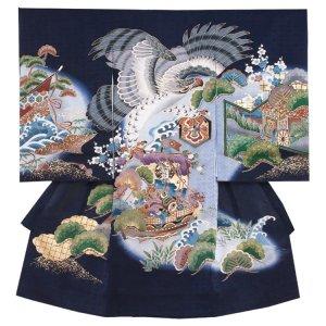 【正絹】お宮参り男の子 2169 紺/鷹と宝船