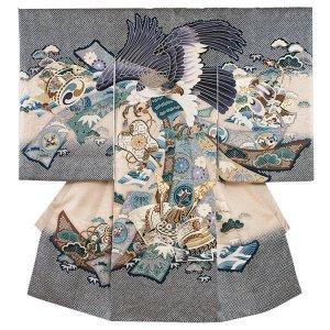お宮参り男の子2035 紺 /鷹と兜の絞り風