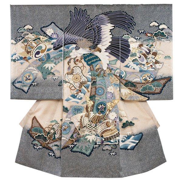 お宮参り男児2035 紺地/鷹と兜の絞り風