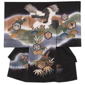 【正絹】お宮参り男の子2122 黒 /亀甲と鷹