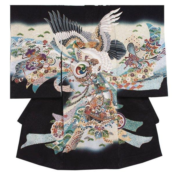 お宮参り男児2044 黒地/鷹と宝船