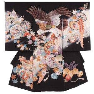 【正絹】お宮参り男の子286a 黒 /刺繍鷹と紅葉