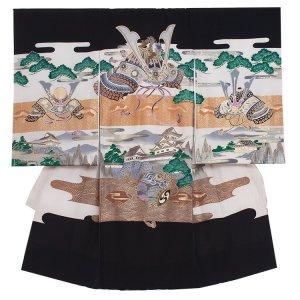 お宮参り男の子2002 黒 /兜と城