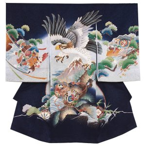 お宮参り男の子2197 紺/鷹と富士