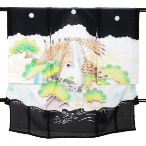 夏の男児産着 高級正絹 五つ紋 黒 S113