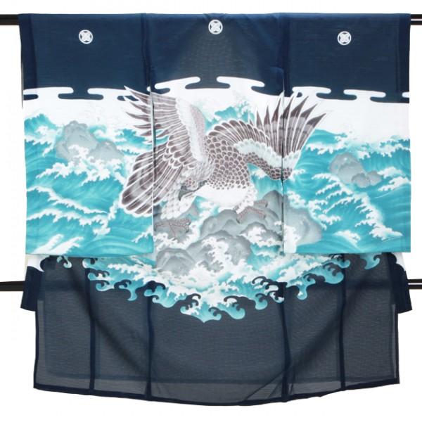 男児産着 紺 SB18 高級正絹 五つ紋 絽 夏用