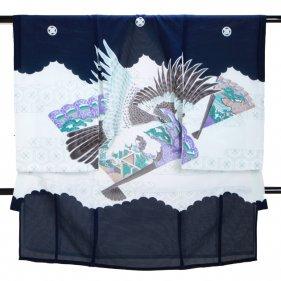 男児産着 紺 SB21 高級正絹 五つ紋 絽 夏用