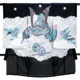 男児産着 黒 SB24 高級正絹 五つ紋 絽 夏用