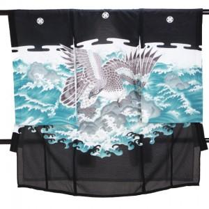 夏の男児産着 高級正絹 五つ紋 黒 S122