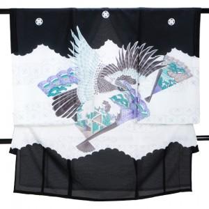 夏の男児産着 高級正絹 五つ紋 黒 S125