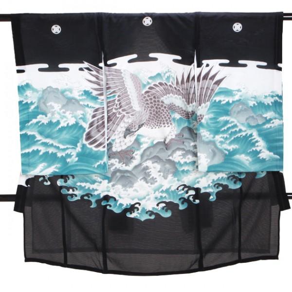 男児産着 黒 SB22 高級正絹 五つ紋 絽 夏用