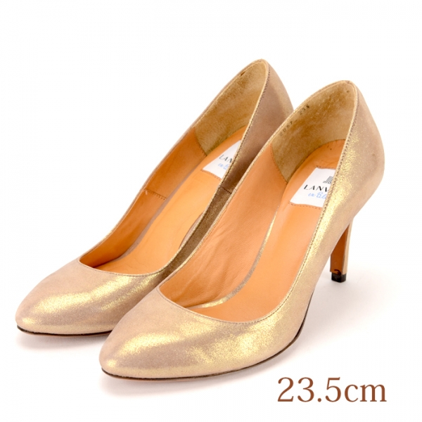 23.5 LANVIN en Bleu パンプス ゴールド 8cmヒール