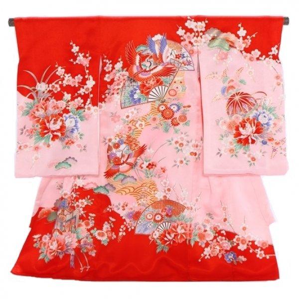 女児産着160ピンク赤扇面鶴(青)
