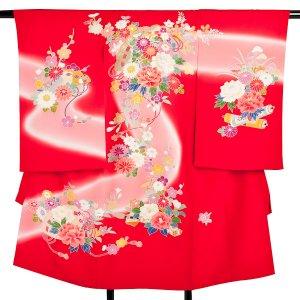 産着レンタル(女児)ub041赤地手描き花扇