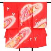 産着レンタル(女児)ub018赤地蝶の舞