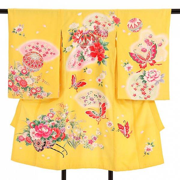 産着レンタル(女児)ub016黄色地蝶と扇花