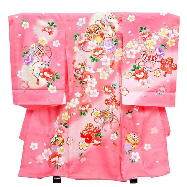 女児産着12-2ピンク・まりと小花