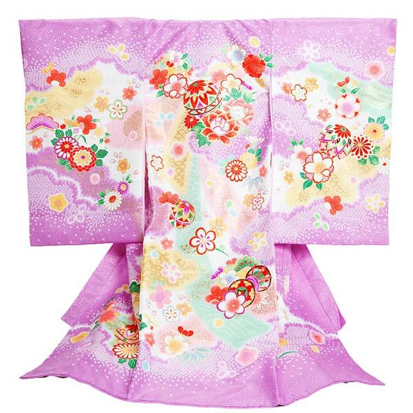 女児産着/紫地・鼓と毬/chouchou17-2