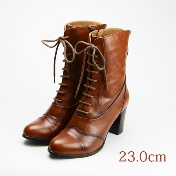 23.0 ブーツ cavacava 7.3cmヒール 茶 牛革