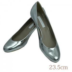 23.5 aquagirl shoes 5.5cmヒール シルバー 本皮