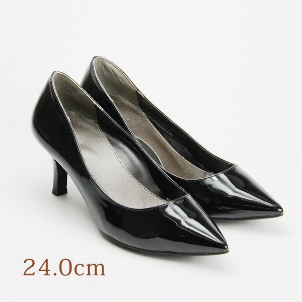 24.0 UNTITLED 6.5cmヒール 黒 エナメル