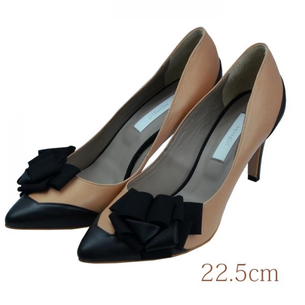 22.5 aquagirl shoes 7.5cmヒール ベージュ 本皮