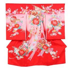 お宮参り女児124 赤地/牡丹と花鼓