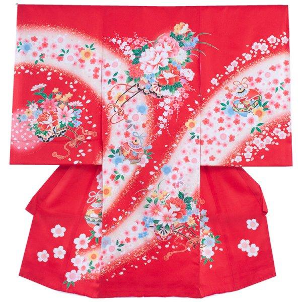 お宮参り女児152 赤地/花舞花車