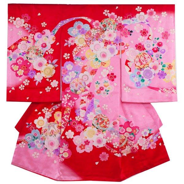 お宮参り女児184 赤地/ピンクと舞桜