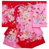 女児産着184 赤地/ピンクと舞桜