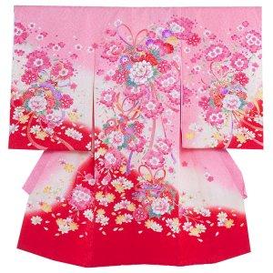 お宮参り女の子156 ピンク /鞠と洋花