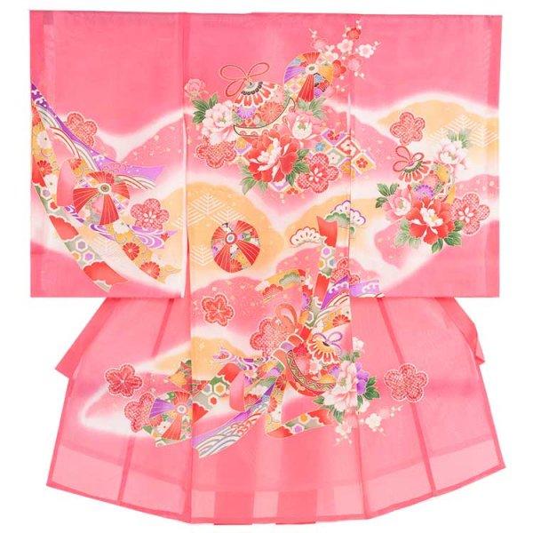お宮参り女児30(正絹)ピンク地/毬と華