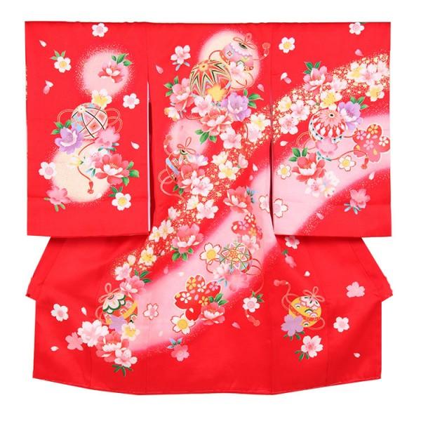 お宮参り女児150 赤地/鞠と刺繍花