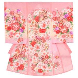 お宮参り女の子37(正絹)ピンク地/毬と花車