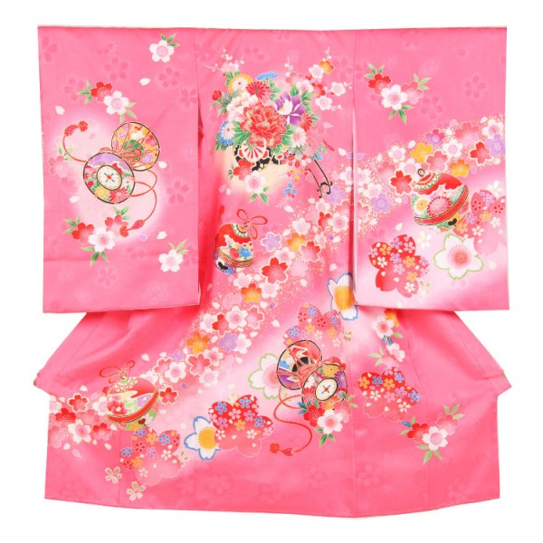 お宮参り女児154 ピンク地/金糸花車と桜