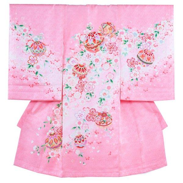 お宮参り女児161 ピンク地/毬と花の舞