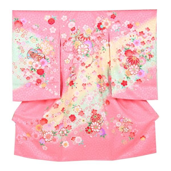 お宮参り女児158 ピンク地/毬桜の舞