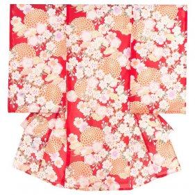 女児産着46 赤地/和菊と桜
