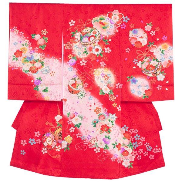 お宮参り女児183 赤地/花鈴と桜
