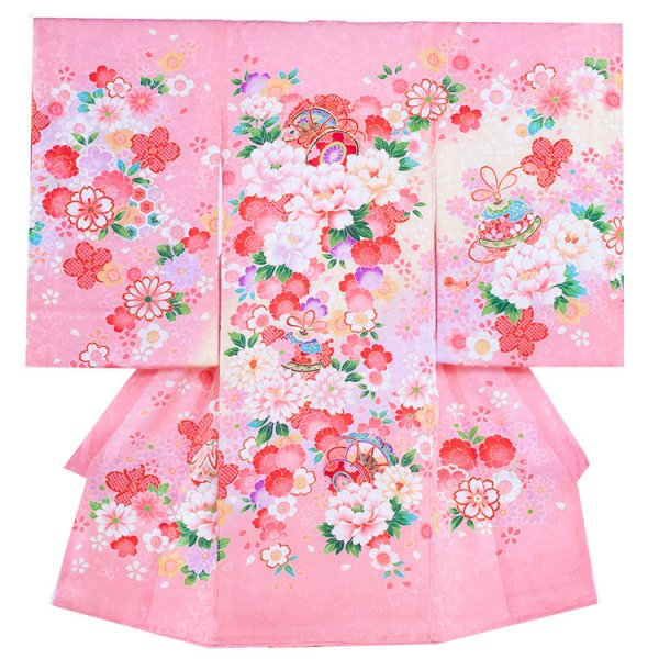 お宮参り女児143 ピンク地/牡丹と洋花