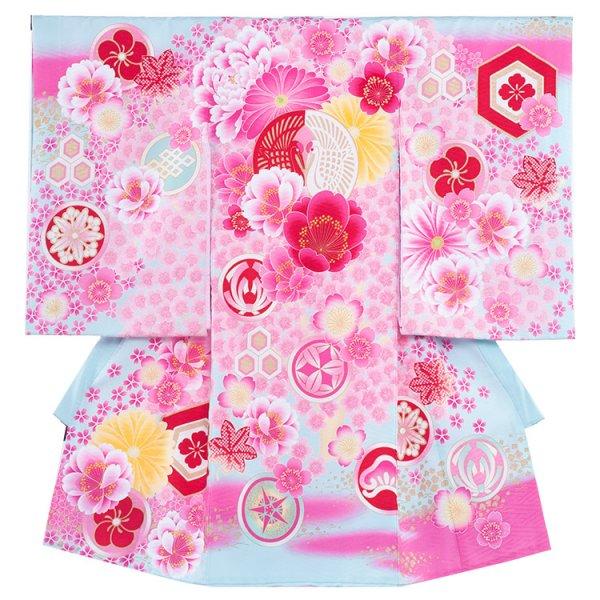 お宮参り女児179 ライトブルー/紅白の合鶴