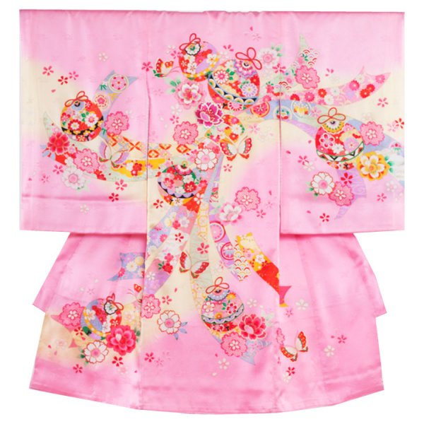 お宮参り女児174 ピンク地/のしと花毬に蝶