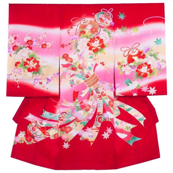 お宮参り女児162 赤地/花鈴と束のし